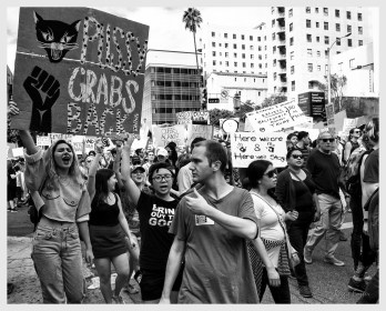 Protest participants on the way to the Federal Building in DTLA