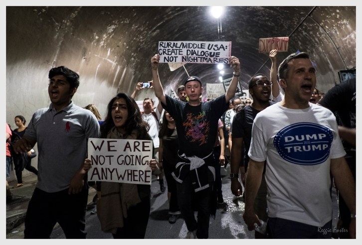Walking thru the 3rd Street Tunnel, Anti Trump Rally proceeding to the Federal Building ,Los Angeles, CA, November 2016, ©2016 Reginald Foster, All Rights Reserved