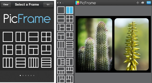 The mobile version (left) and desktop (right) over many layout templates.