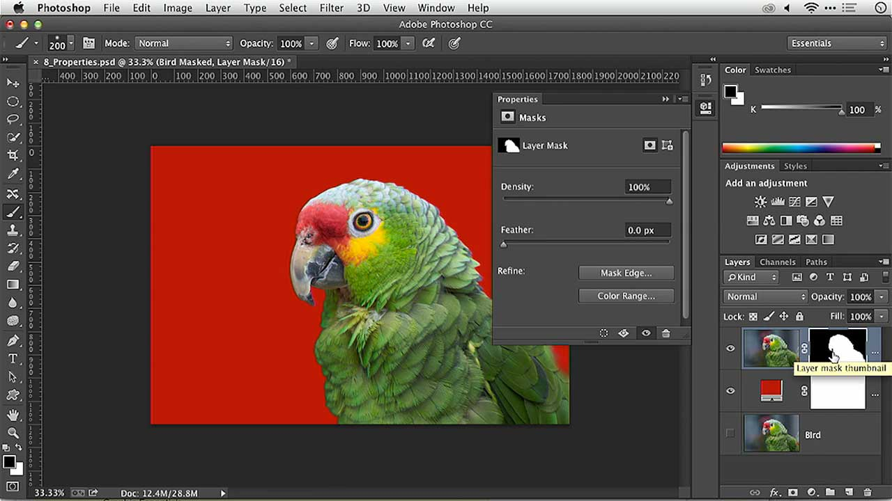Photoshop Layer Masks: Properties Panel