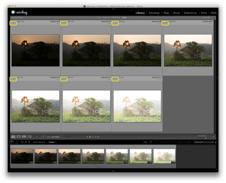 (Click to view larger) A group of seven bracketed images in Lightroom.