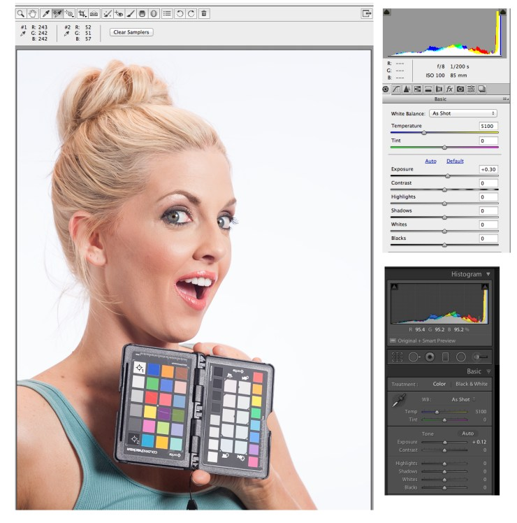 Adding a third of a stop of exposure in Camera Raw or .12 in Lightroom hits the target numbers.