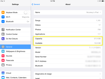 This shows my iPad at 10.8 GB BEFORE syncing files from Lightroom.