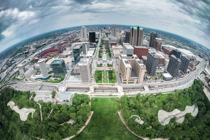 Downtown St. Louis, MO photographed from the observation lobby at the top of the Gateway Arch.