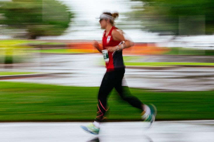 This athlete is finishing the final marathon leg of the Cairns, Australia Ironman competition