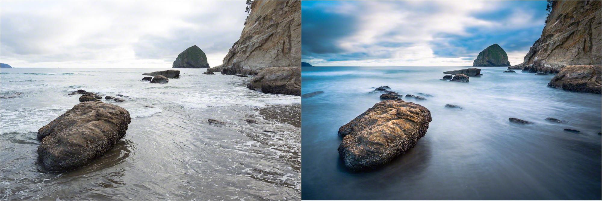 (Left) 1/45 sec; (Right) 30 sec
