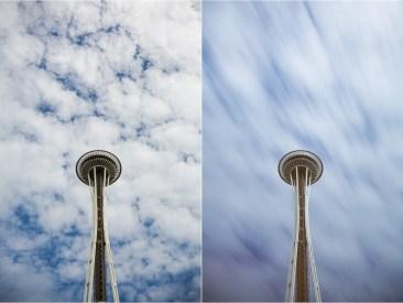 (Left) 1/125 sec; (Right) 54 sec