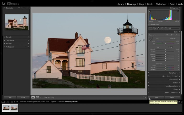 Figure 4: Processing both photos the same way in Lightroom.