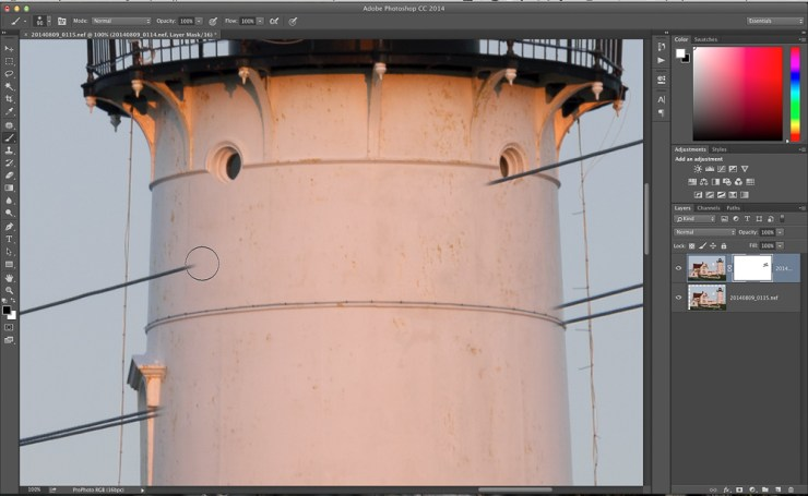 Figure 6: Using a layer mask to reveal the pixels under the power line.