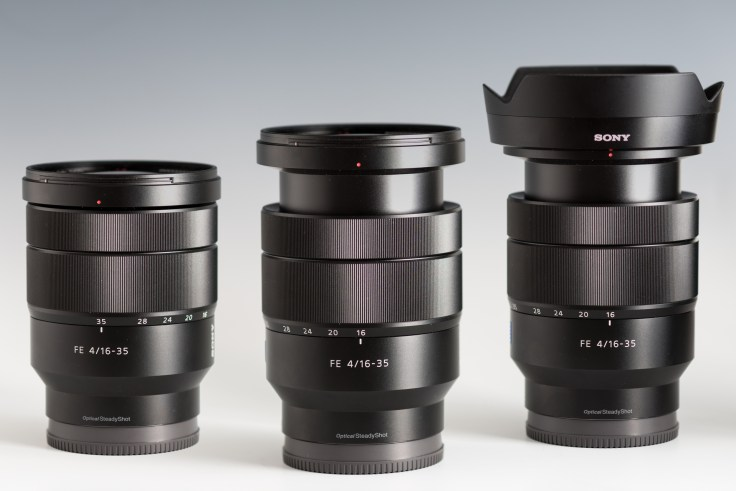 The Sony FE 16-35mm F4 lens at 35mm (left), at 16mm (center) and at 16mm with its lens hood (right)
