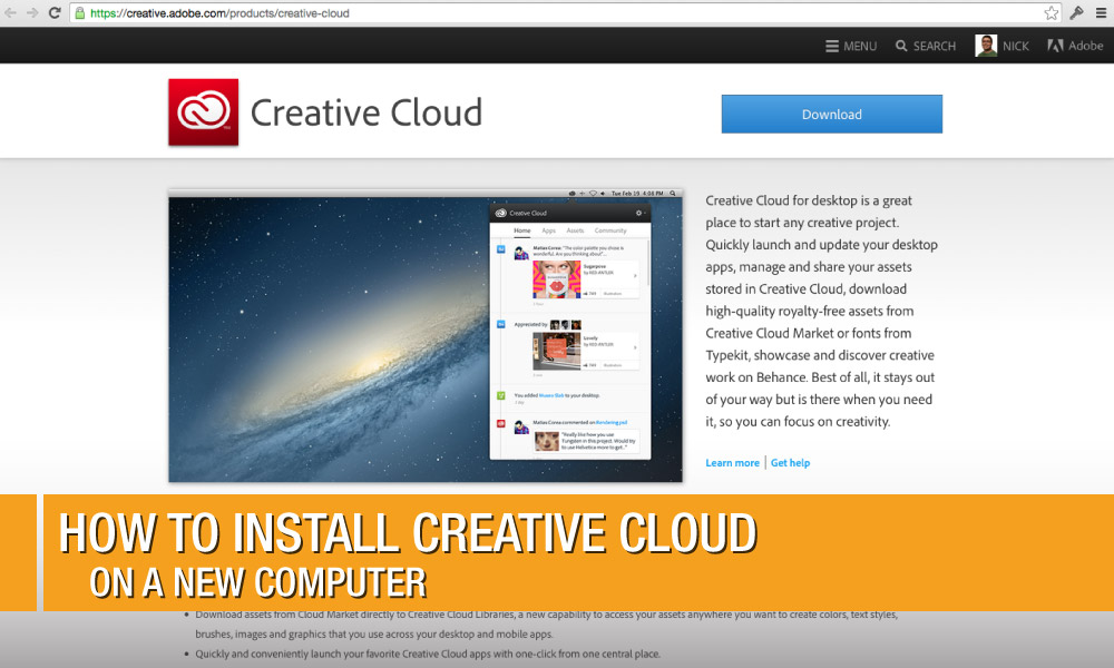Where's the Download button? How to Install Creative Cloud