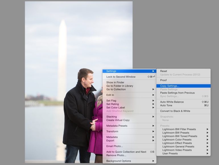 Copying settings from the large image