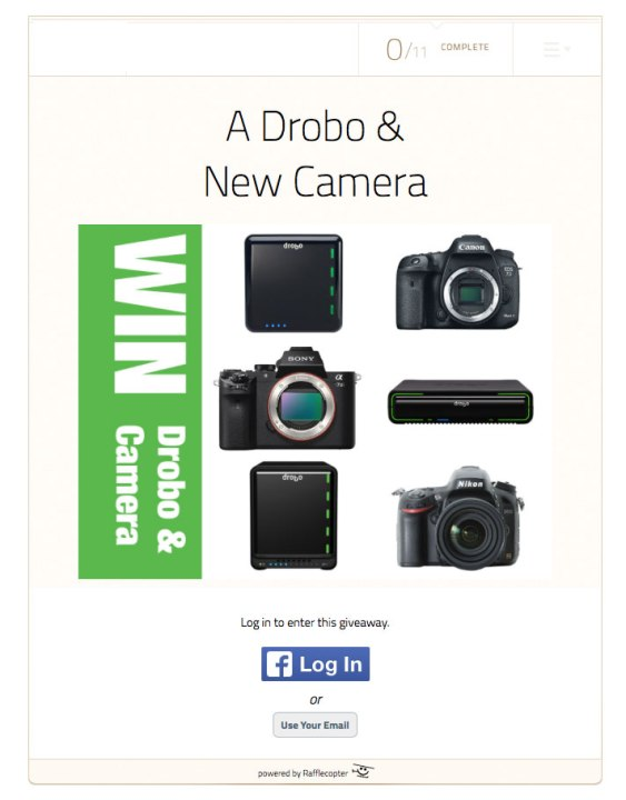 Last Day to Enter 4/15/15 — Win a New Camera and a Drobo