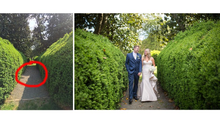 Noticing the line of highlights and shadows, I knew I needed to place my couple behind the line to avoid awkward lighting. ©Lovesome Photography