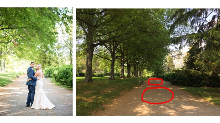 Although somewhat spotty, this tree lined path offered large patches of full shade my clients could walk in and out of for posing.