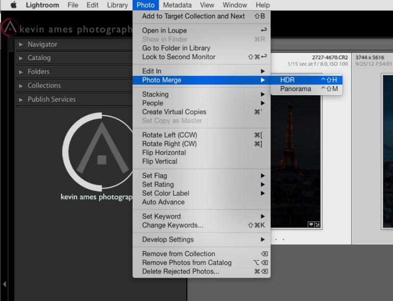 Choosing Photo Merge to HDR from Lightroom CC's menu bar.