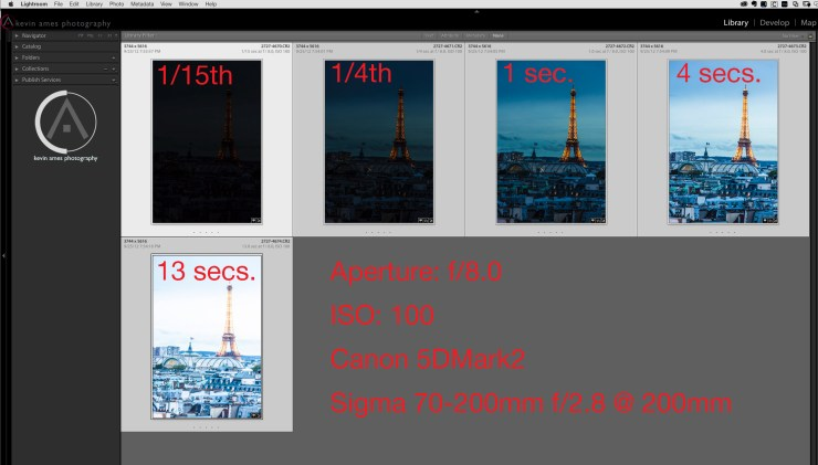 The five photographs and their exposure settings for Photomerge to HDR in Lightroom CC.