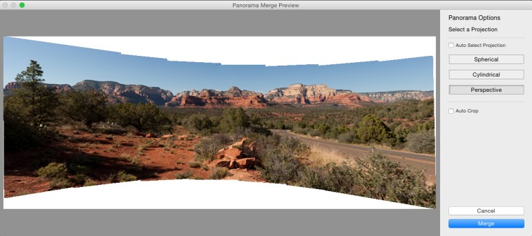 The Perspective projection stretches and stitches the images into a bow tie effect.