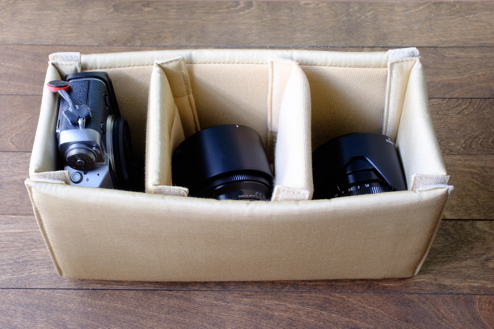 Fuji X-T1 with Fuji 23mm and 56mm (both detached)