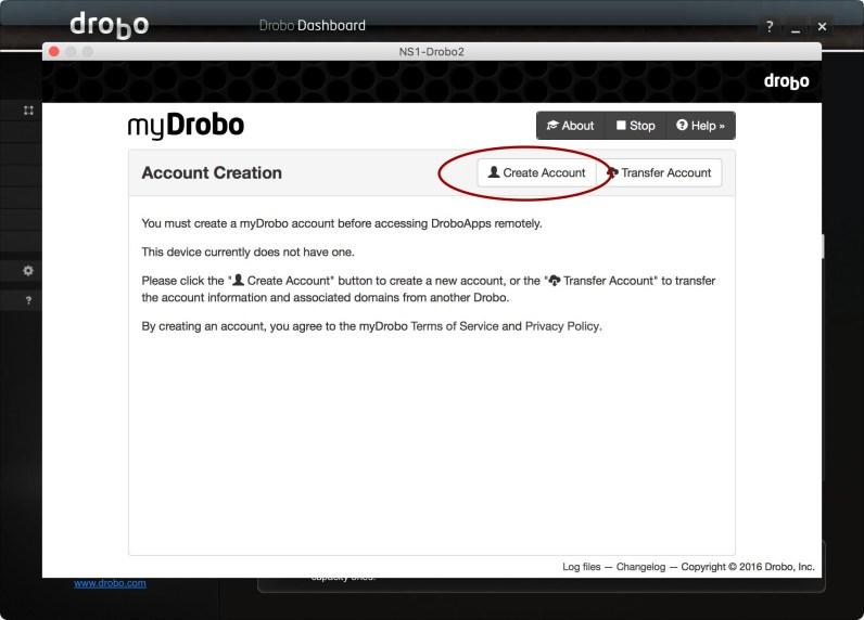 myDrobo Account Creation