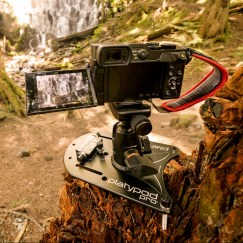 "Platypod Max's 1/4"" 20 threaded legs kept my GX8 on a stump at Ramona Falls on Mt. Hood. That's the Spider Lite Hand Strap on my GX8--it's such a great strap."