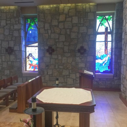 Altar side view with windows