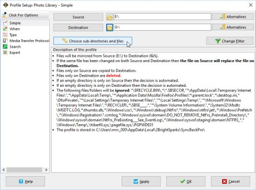 Part 2 3a Choose sub-directories and files