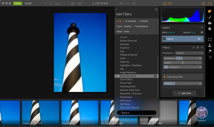 Luminar running as a Photoshop plug-in. The Polarizing filter is quite effective.