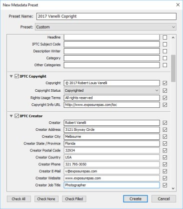 Copyright Preset IPTC