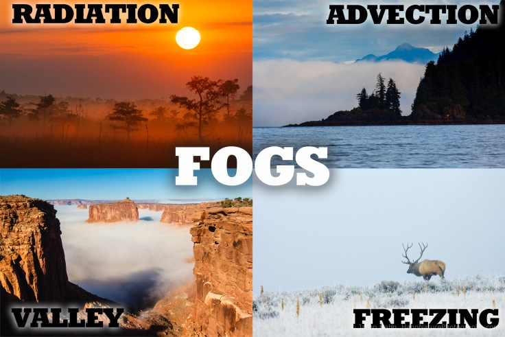Photos of different types of fog, including: radiation or ground fog, advection or sea fog, valley fog, and freezing or ice fog.