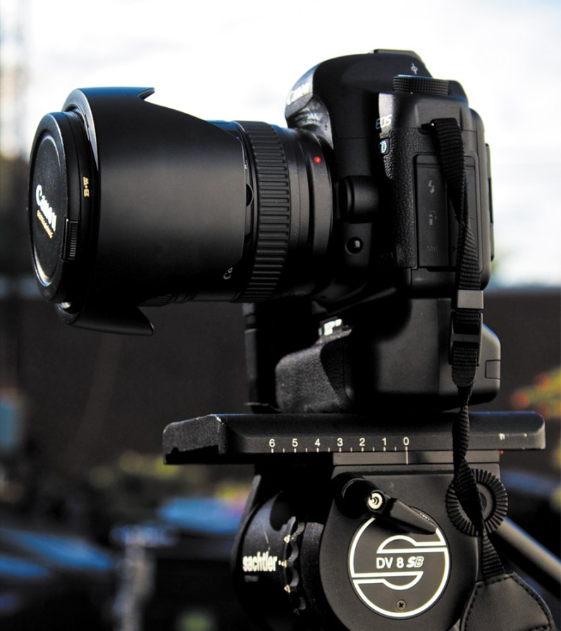 The video tripod on the right can be panned and tilted while recording. Photos by Lisa Robinson.