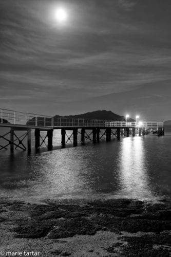 full moon over Naoshima Pier by marie Tartar
