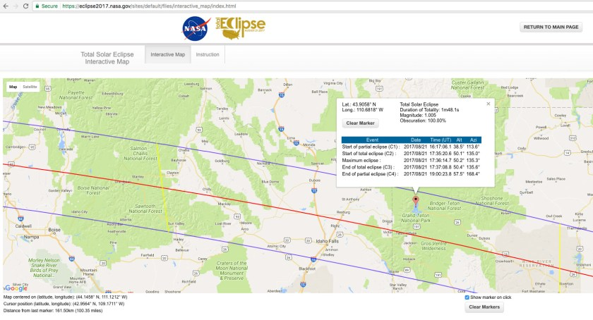 Grand Teton Location for the Eclipse August 21 courtesy of NASA