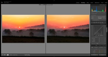Soft Proofing lets you see a simulation of how your image will look when produced on different devices, like printers. Note the subtle differences in the colors in the sky between the monitor colors (left) and the printer colors (right). This is where you would go back and make minor adjustments so both look the same.
