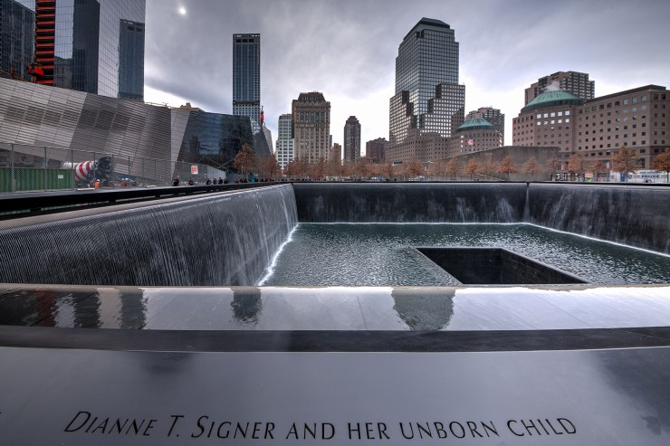 One of the two 911 Memorial Fountain that bear the engraved names of those who died in New York, Washington, D.C. and Shanksville, Pennsylvania.