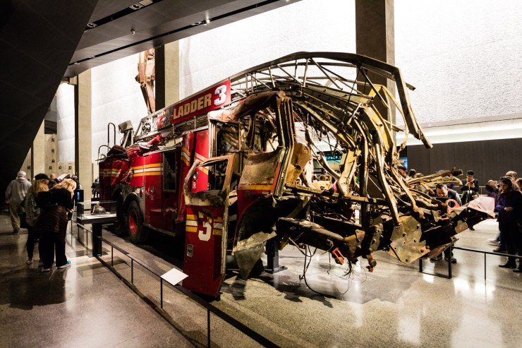Ladder 3 a fire engine destroyed when the Twin Towers collapsed on display in the 9/11 Memorial Museum