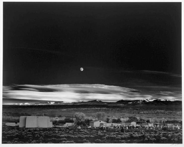 Moonrise over Hernandez NM by Ansel Adams