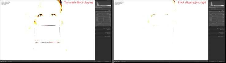 Black Clipping too much on the left and just right on the right.