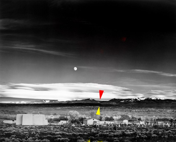 "Ansel Adams ""Moonrise"", with arrows indicating the landscape features I was trying to align"