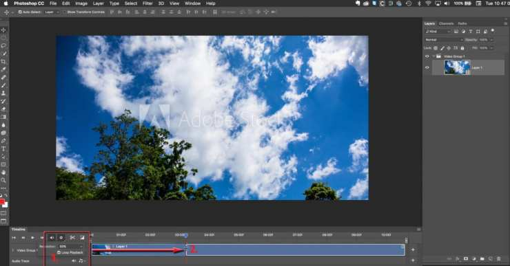 Step 1 and 2 of making a cinemagraph in Photoshop