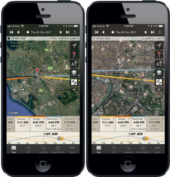 The Photographer's Ephemeris overview and detail screens on an iPhone.