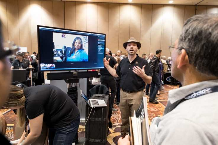 Photofocus managing editor, Levi Sim demonstrates Luminar 2018 at the WPPI Launch Pad Event at Mandalay Bay in Las Vegas.