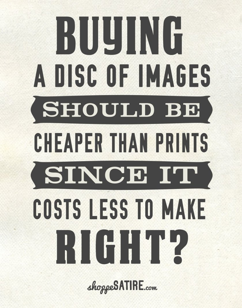 Buying a disc of images should be cheaper than prints since it costs less to make. Right?