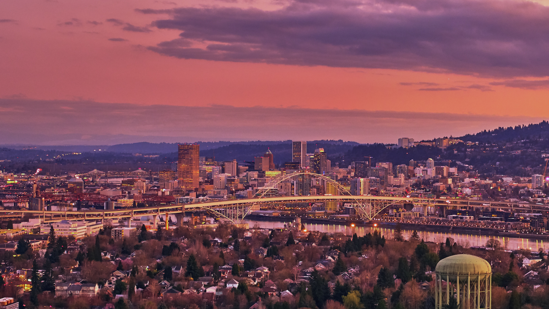 Sunset over Portland on a cold Winters evening