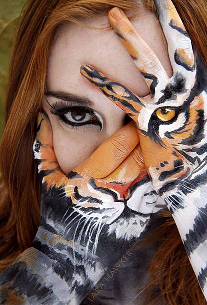 Lady or the Tiger face makeup by Lara Hawker