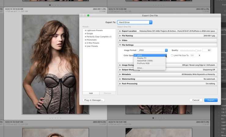 Changing color space when exporting in Lightroom