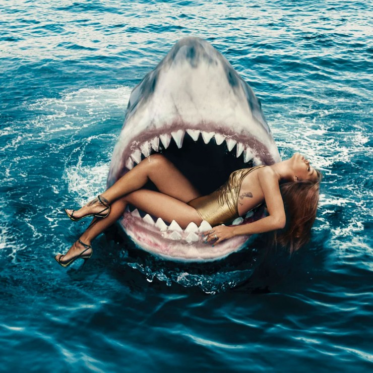 Shark week ends with a photo of Rhianna wearing a Chanel swimsuit. Photograph by Norman Jean Ray