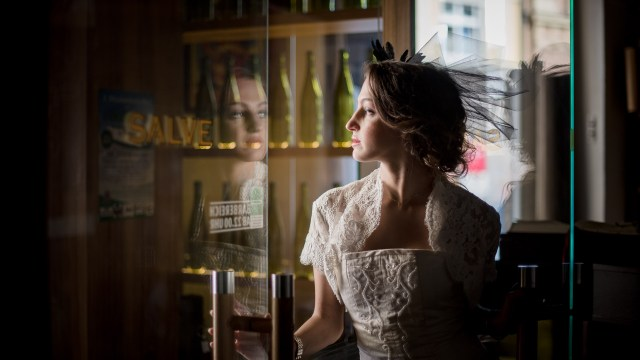 girl, corset, embroidery, glass door, enter, reflection