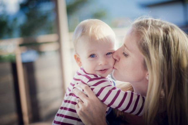 Baby, blonde, mum and baby, kiss