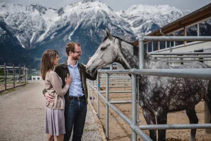 mountains, snow, horse, couple